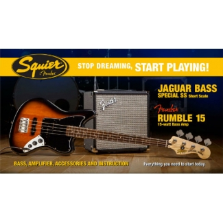 Jaguar Bass Special SS with Fender Rumble 15 Amp