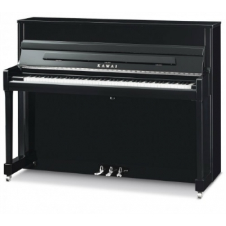 Kawai K200SL Upright Piano in Polished Ebony with Silver Fittings
