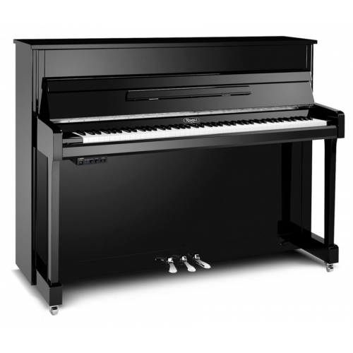 Kemble K113 Silent Series Upright Piano in Polished Ebony with Chrome Fittings