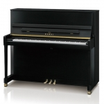 Kawai E300 Studio Upright Piano In Satin Black with Brass Fittings