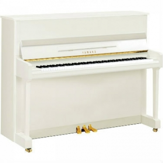 Yamaha P116-SH Silent Upright Piano in Polished White with Chrome Fittings