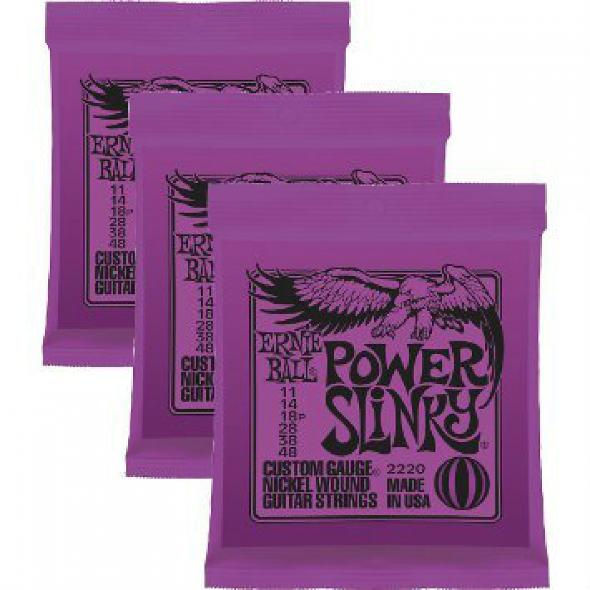 3 sets of ernie ball 2220 power slinky electric guitar strings 11 48 at promenade music. Black Bedroom Furniture Sets. Home Design Ideas