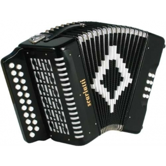Scarlatti D/G 2-Row Diatonic Melodeon in Black with Strap & Case (GR42002)