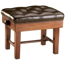 English Made Large Adjustable Single Concert Piano Stool With Leather Top