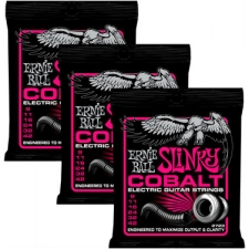 3 Sets of Ernie Ball 2723 Slinky Cobalt Electric Guitar Strings 9-42