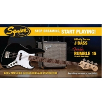 Squier by Fender Affinity Series Jazz Bass, Black & Fender 15W Amp