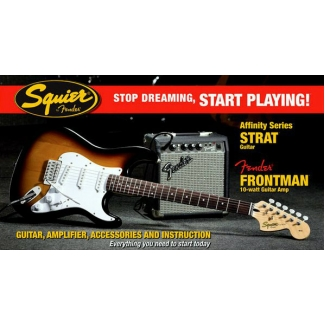 Squier by Fender Affinity Strat, Brown Sunburst Package with 10G Amp