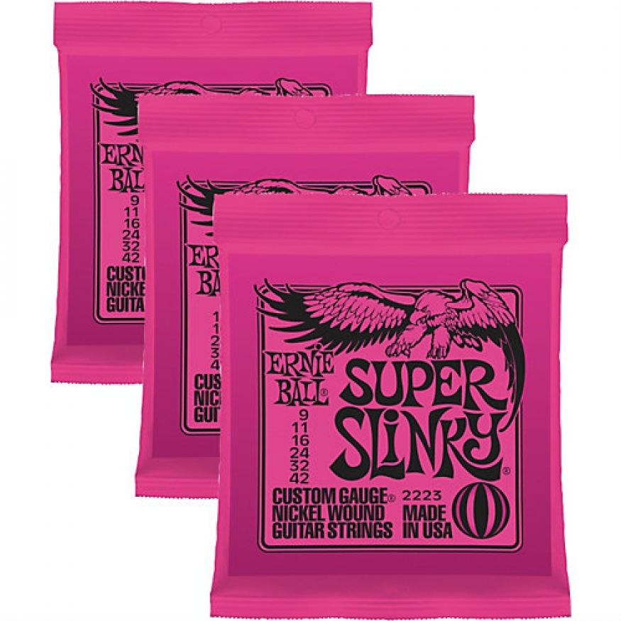 3 sets of ernie ball 2223 super slinky electric guitar strings 9 42 at promenade music. Black Bedroom Furniture Sets. Home Design Ideas
