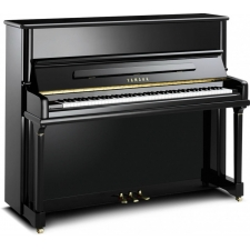 Yamaha P124 Upright Piano in Polished Black with Brass Fittings