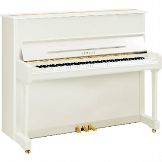 Yamaha P121 Upright Piano in Polished White with Chrome Fittings